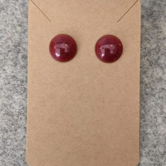 Red Round Stud Earring