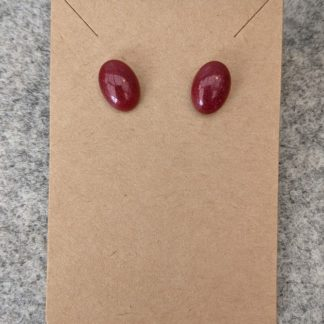 Red Oval Stud Earring
